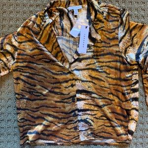 Top shop tiger silk blouse